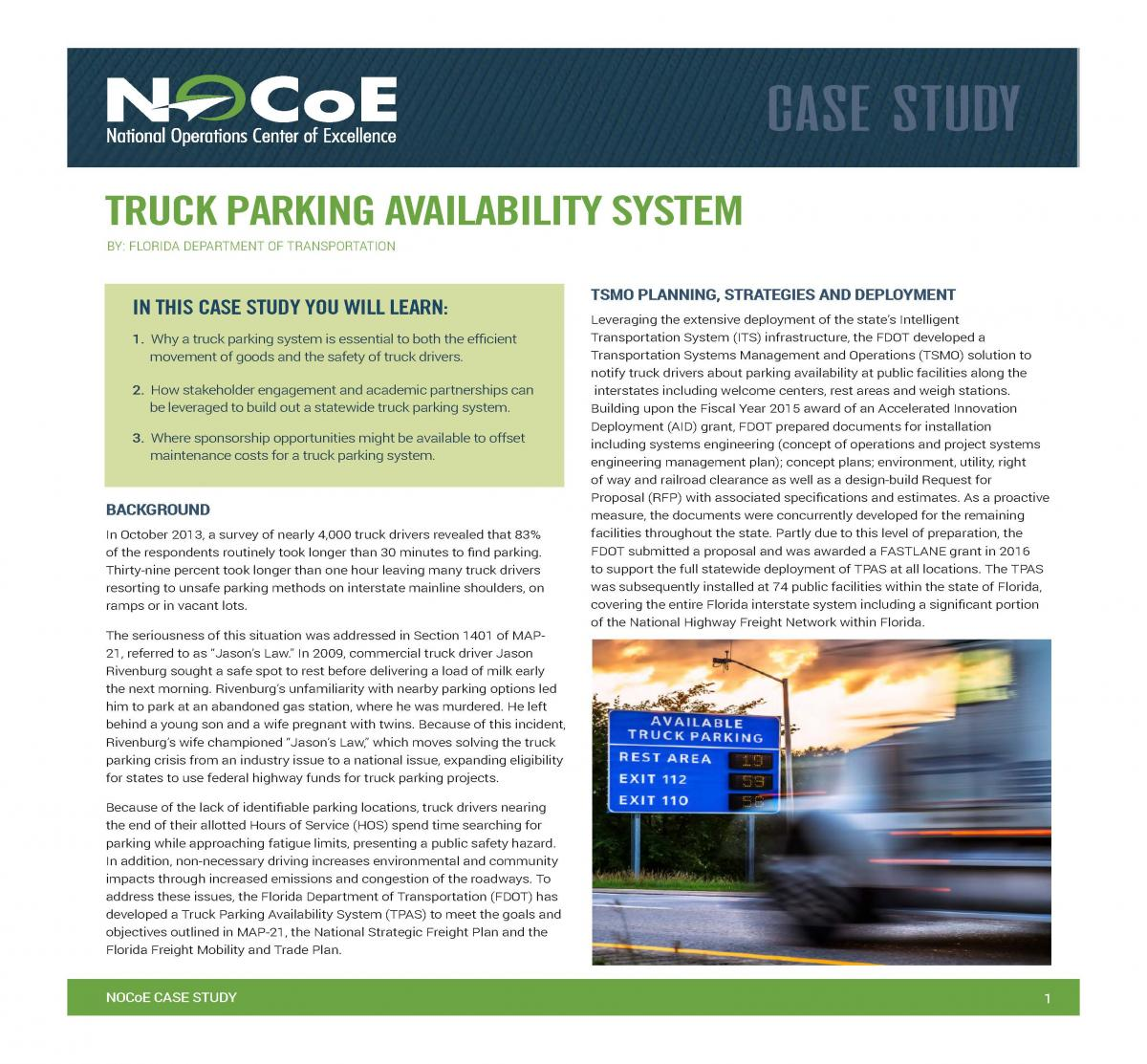 Florida DOTs Truck Parking Availability System | National
