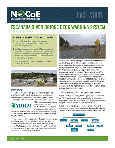 Escanaba River Bridge Deck Warning System National Operations Center Of Excellence