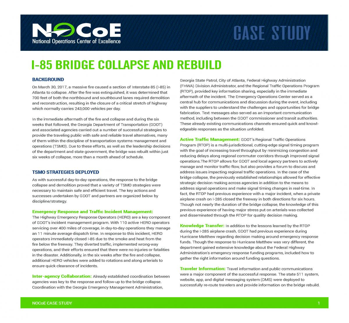 I-85 Bridge Collapse and Rebuild | National Operations