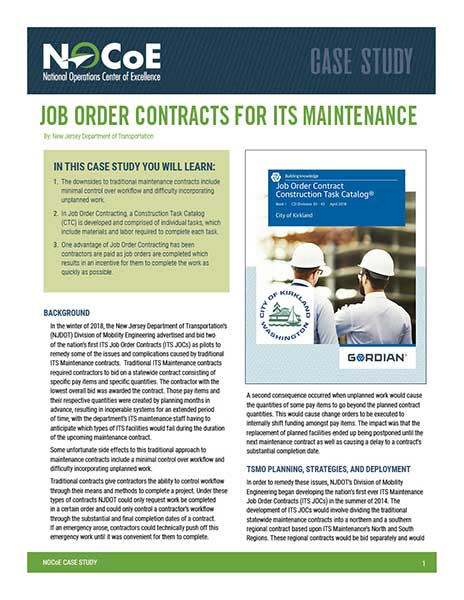 Job Order Contracts for ITS Maintenance | National