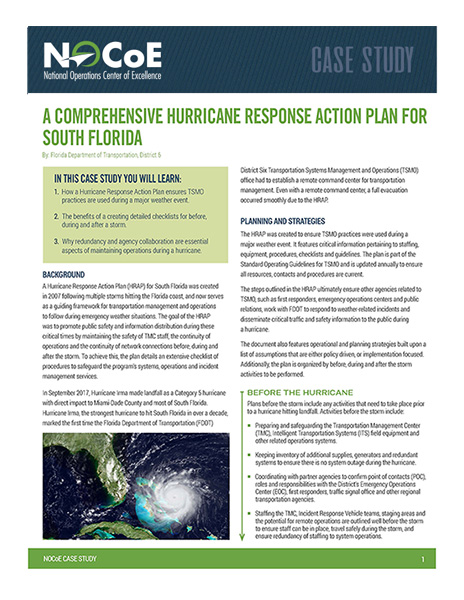 A Comprehensive Hurricane Response Action Plan For South